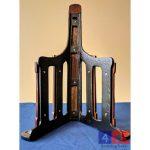 Cast iron saddle rack under view