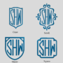 Shield and Square monograms